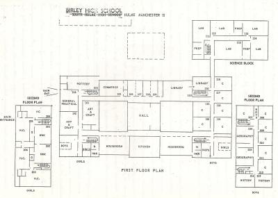 The ground and first floor plans - 1968 - note the name of the school was changed